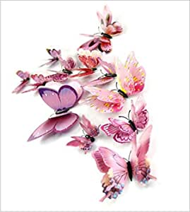 9 Paragraphs Dozen Stereoscopic Double Layer 3D Butterfly Wall Stickers