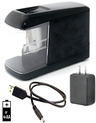 PORTABLE ELECTRIC PENCIL SHARPENER - Battery, Plug-in, or USB power. Includes power adapter! Durable Small Lightweight Powerful Safe. Great for home office, arts & craft, teachers, kids, and school.