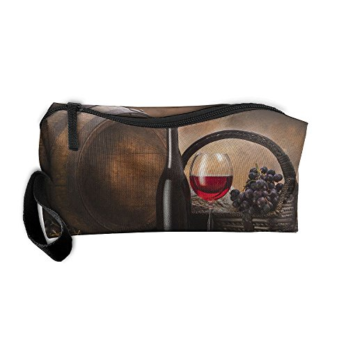 Portable Outdoor Cosmetic Toiletry Clutch Bag Accessories Organizer Case Travel Home Use Zipper Oxford Grapes Basket Red Wine Pattern Storage Pouch