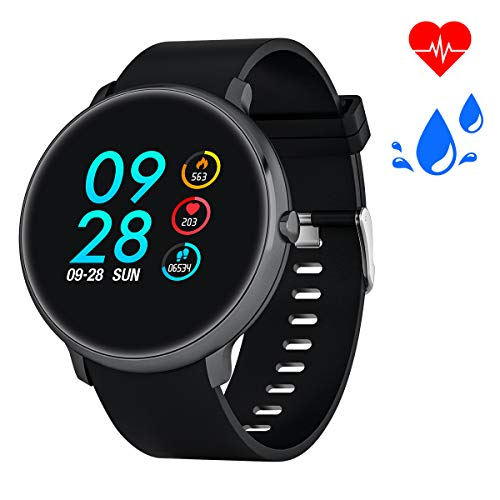 Bebinca Blood Pressure Smart Watch Fitness Activity Tracker Heart Rate Sleep Monitor IP67 Waterproof Bluetooth Pedometer Steps Calorie Counter Women Men