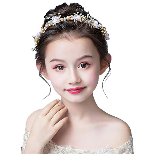 Campsis Lovely Pearl Princess Headpiece Bow-Knot Tiara First Communion Hair Accessories for Women and Girls and Bridal (Pink)]()