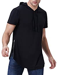 Men's Stylish Hip Hop Longline Pullover Hoodie Shirts Short Sleeve