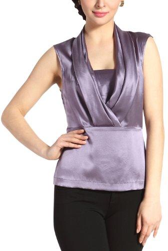 PHISTIC Women's 'Lori' Drape Neck Silk Blouse - Lavender - Neck Drape Silk