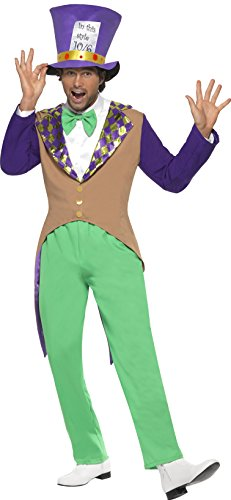Smiffy's Men's Mad Hatter Costume, pants, Jacket, Bow Tie and Hat, Wings and Wishes, Serious Fun, Size L, 29025