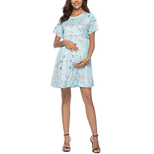Zhuhaijq おしゃれ マタニティ産前?産後 長く使える 授乳服Women's Floral Summer Casual Skirts Maternity O-Neck Dress - Short Sleeves