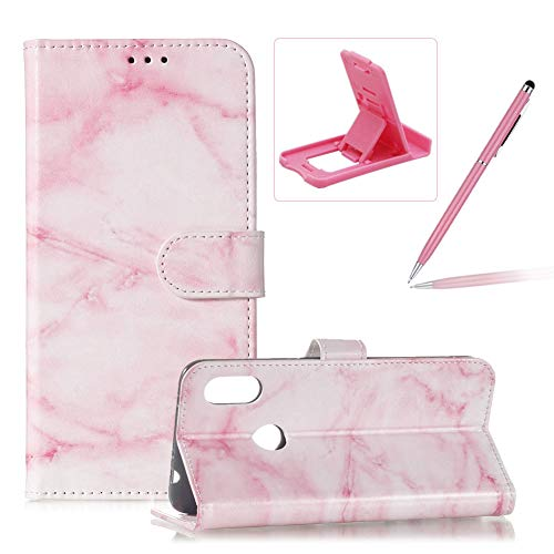 Price comparison product image Wallet Case for Redmi Note 6 Pro, Flip Leather Cover for Redmi Note 6 Pro, Herzzer Stylish Elegant [Pink Marble Pattern] Premium Magnetic PU Leather Stand Card Holder Slots Case with Soft TPU
