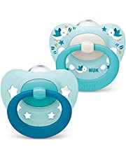 NUK Signature Baby Dummy | 0-6 månader | BPA-fria silikonnappar | blå stjärnor | 2 stycken