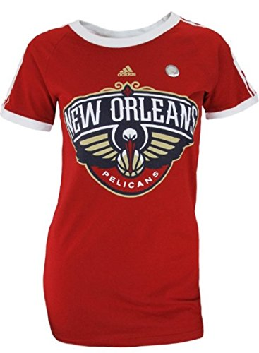 (New Orleans Pelicans NBA Women's Short Sleeve Striped Raglan Tee - Red (Medium) )