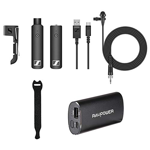 St4 Box (Sennheiser XSW-D LAVALIER SET Wireless Microphone with RAVPower Luster 6700mAh Charger & Fastener Straps 10-Pack Bundle)