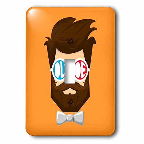 3dRose The Artism - People, Beard, Hipster - Dude - a dude with beard and mustache wearing goggles and bow tie - Light Switch Covers - single toggle switch (lsp_280189_1) ()