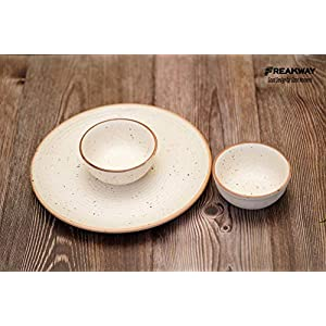 Freakway Floral Ceramic Handmade Cream one Dinner Plate(10 inch) with Serving Bowl Set of 2 (Microwave & Dishwasher Safe…