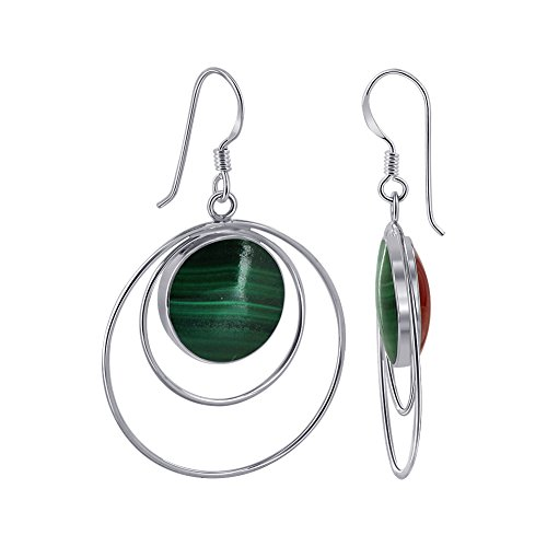 Gem Avenue Sterling Silver French Ear Wire 14mm Round Malachite & Coral Double Sided on Drop Earrings for women