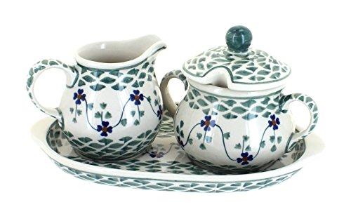 Blue Rose Polish Pottery Sage Floral Sugar & Creamer with Tr