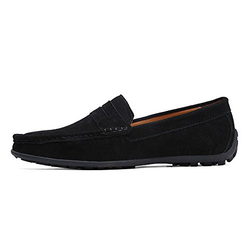 VILOCY Men's Casual Suede Slip On Driving Moccasins Penny Loafers Flat Boat Shoes Black,45 by VILOCY (Image #2)