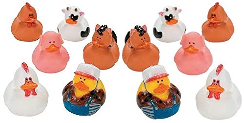 (OTC - Rubber Ducky Farm Animal Party Favors [Toy] (2-Pack of 12))