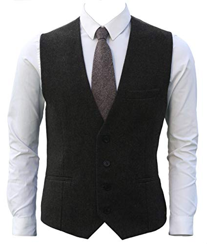 Ruth&Boaz 3Pockets 4Buttons Wool Herringbone Tweed Business Suit Vest (L, Tweed Olive)
