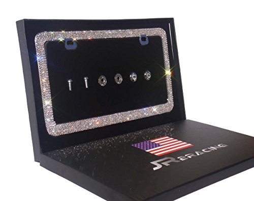 JR2 Luxury Handmade Premium Rhinestone Metal License Plate Frame with Gift Box+Free Premium Diamond Anti-Theft Screw Cap (White)