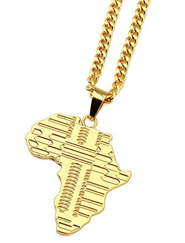 - Coolzdt Gold Tone Africa Necklace Pendant & 29.5 Inch Chain (Golden)