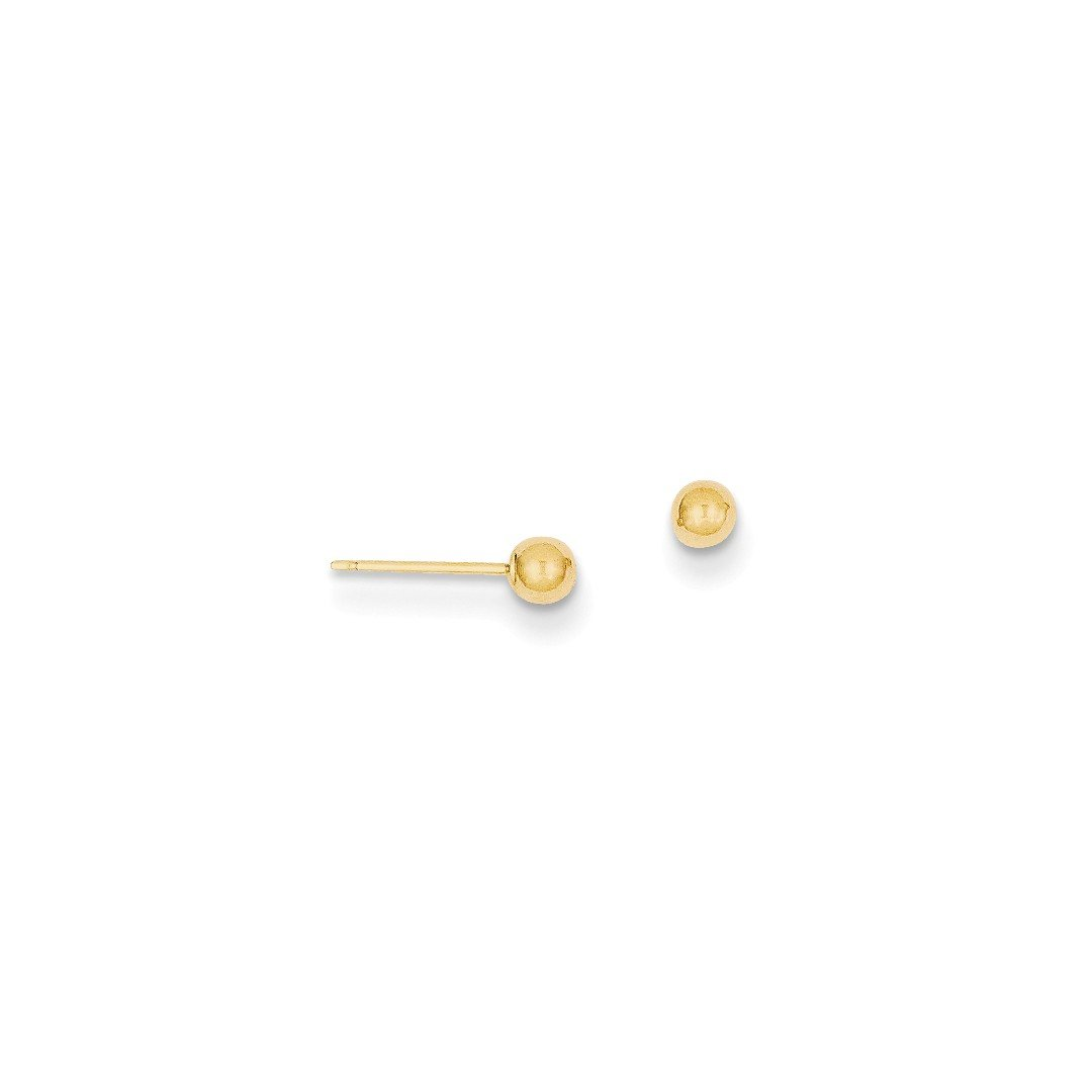 ICE CARATS 14kt Yellow Gold 3mm Ball Post Stud Button Earrings Fine Jewelry Ideal Gifts For Women Gift Set From Heart