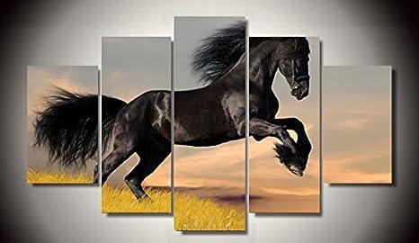 Stampa Hd 5 Pezzi Con Stampa Artistica Su Tela Cavallo Pittura