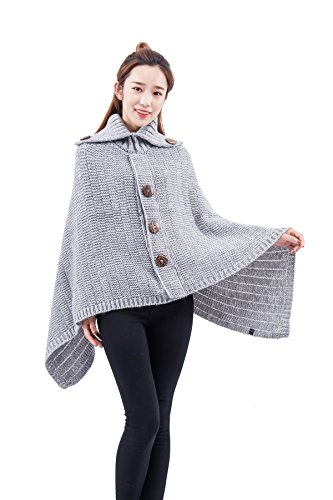Ribbed Turtleneck Poncho - Women's Fashion Turtleneck Wide Ribbed Knitted Decorative Wooden Button Poncho (Light Grey)