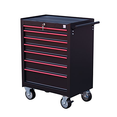 HomCom Steel Rolling Tool Chest Storage Cabinet w/ 7 Slid...