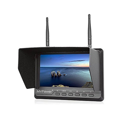 MVPower® Wireless 7 Inch FPV Monitor for quadcopter IPS Screen 600cd/m2 High Brightness 1024x600 High Resolution Built-in Battery, Dual 32CH 5.8GHz Diversity Receivers for Outdoor Aerial Photography