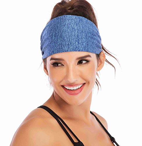 (Heathyoga Non-Slip Headband for Women -Silicone Grippy Sweatband & Sports Headband for Workout, Running, Crossfit, Yoga Bike Helmet Friendly, Performance Stretch & Moisture Wicking (Space Dye)