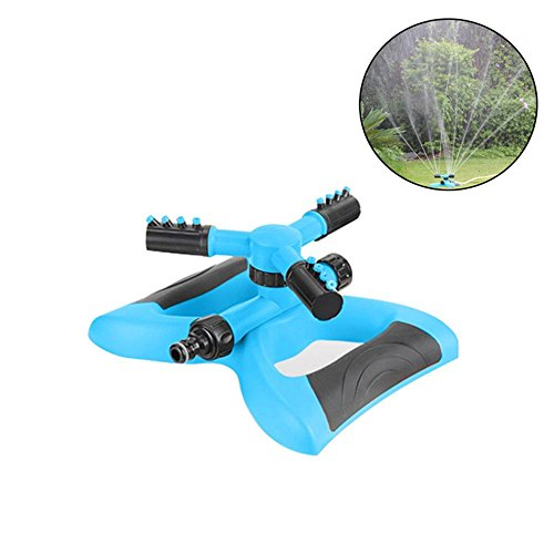 Large Coverage Pulsating Sprinkler - KOBWA Lawn Sprinkler, Automatic 360°Adjustable Garden Watering Sprinkler, Yard Water Sprinkler for Large Area of Coverage, Leak Free Design Durable 3 Arm Sprayer