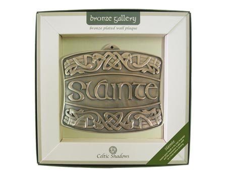 Royal Tara Bronze Plated Wall Plaque With Slainte & Celtic Knots Design