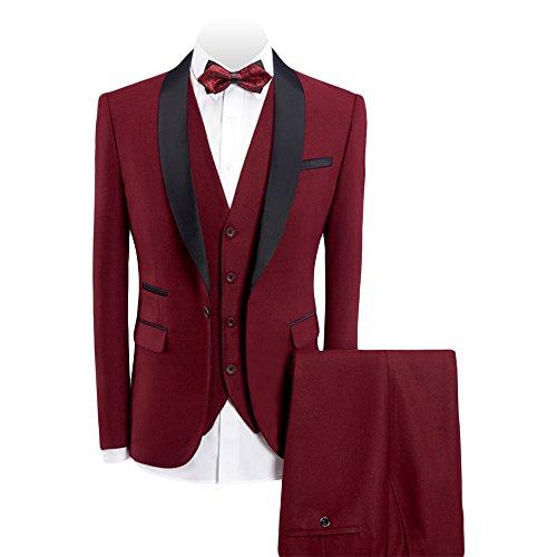 WEEN CHARM Men's 3-Pieces Suit Slim Fit Shawl Lapel One Button Vested Dress Suit Set Blazer Jacket Pants Tux (Dress Suit Jacket Coat)