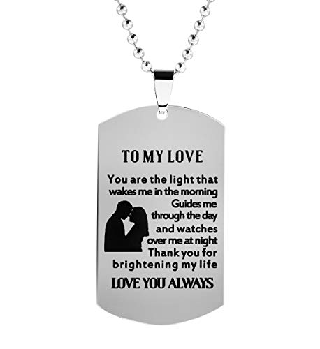 (Meibai Girlfriend to Boyfriend Wife to Husband Gifts Engraved Dog Tags Pendant Necklace Keychain for Him (NECKLACE-1))