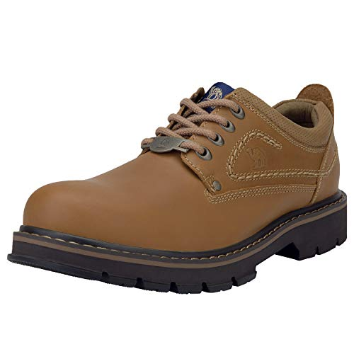 Working Camel - CAMEL CROWN Men's Leather Lace up Walking Shoes Casual Low Work Business Construction Shoes