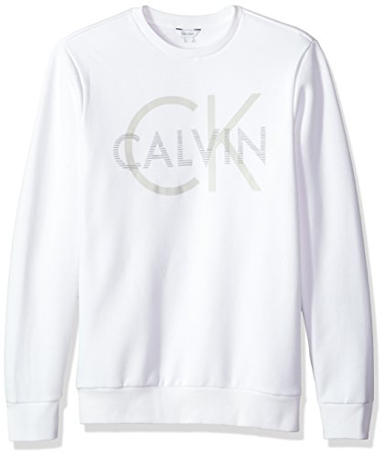 Calvin+Klein+Men%27s+Long+Sleeve+Printed+Logo+Crew+Neck+Pullover+Sweatshirt%2C+Standard+White%2C+X-Small