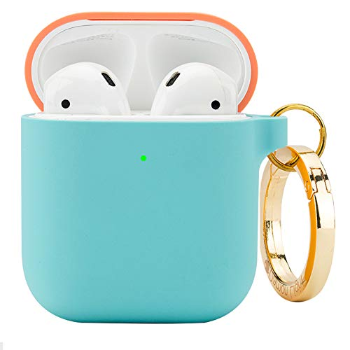 DamonLight Premium Silicone Airpods Case with Carabiner [Front LED Visible][with no Hinge] Full Protective Cover Skin Compatible with Apple Airpods 1&2 (Pink+Ice Blue) (Cover Skin Premium Case Silicone)