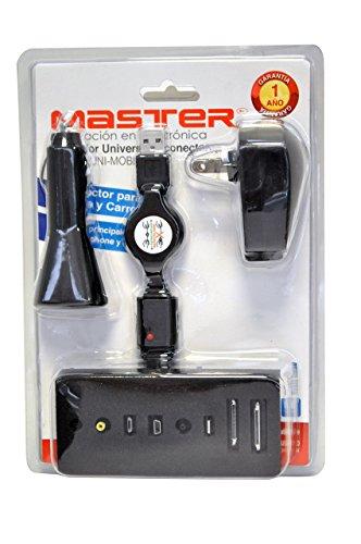 Master- Cargador con 8 puntas diferentes, puedes cargar tu producto apple, smartphone, ipad entre otros más al mismo tiempo,...
