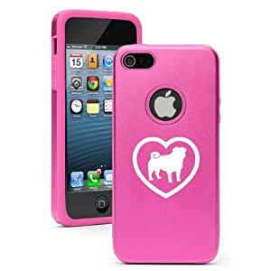 Apple iPhone 5c Hot Pink CD4765 Aluminum & Silicone Case Cover Pug Heart