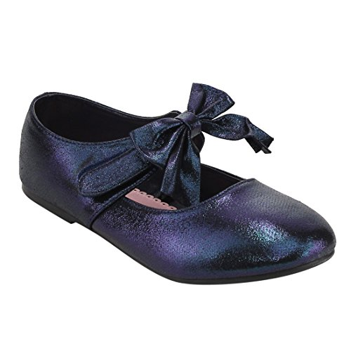 JELLY BEANS FH16 Girl's Bowknot Mary Jane Solid Ballet Flats, Color:NAVY, Size:1 M US Little Kid