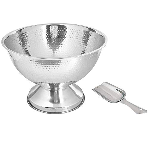 Cooler Footed Wine (Kosma Stainless Steel Punch Bowl | Champagne Beer Wine Cooler - Hammered Finish with Free Ice Scoop (36 cm))