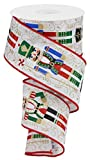 Wired Ribbon Nutcracker White Red Gold Black Green 2.5 Inches x 10 Yards for Wreaths, Floral Arrangements, Gift Wrapping, Christmas Crafting