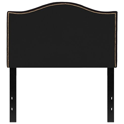 Flash Furniture Lexington Upholstered Twin Size Headboard with Decorative Nail Trim in Black Fabric (Black Twin Headboard)