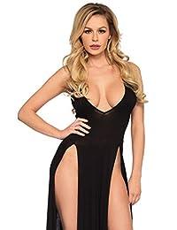 Leg Avenue Womens Standard Deep-v Dual Slit Jersey Maxi Dress