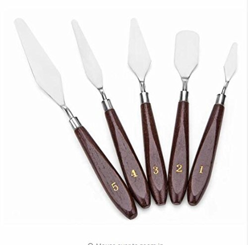 5Pcs Oil Knives Artist Crafts Stainless Steel Spatula Palette Knife Set for Oil Painting Mixed Scraper Art Supplies by BEMLP