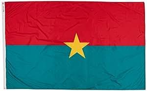 ANNIN & COMPANY Annin Flagmakers 199141Nylon SolarGuard nyl-GLO Burkina-Faso Bandera, 5x 8'