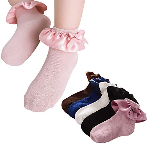 BOOPH Girls Cotton Socks Cute Princess Style Lace Top Dress Socks 5 of Pack 2T-8T