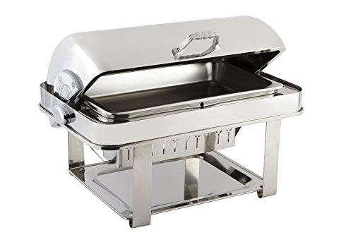 Bon Chef 12004CH Elite Series Stainless Steel Dual Use Rectangular Chafing Dish with Contemporary Legs, Chrome Trim Finish, 2 gal Capacity