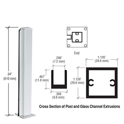 CRL Satin Anodized Standard 24'' End Partition Post by CR Laurence by C.R. Laurence (Image #2)