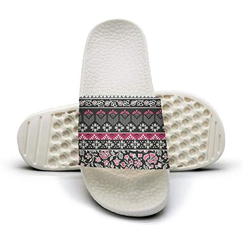Women's Popular Slipper Boho Borders Flowers Floral White Super Soft Open Toe Flat Bedroom Slides Shoes