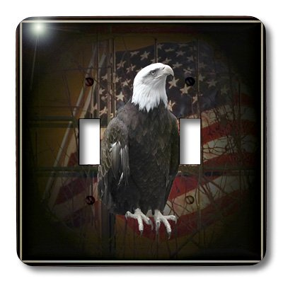 (3D Rose lsp_11602_2 Bald Eagle with American Flag Wall plates)