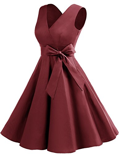 Dresstells col Soire Cocktail en sans Style Rtro Annes Robe 50 7 0 V Version 1950's de Vintage Manches Bordeaux 0xzq08r